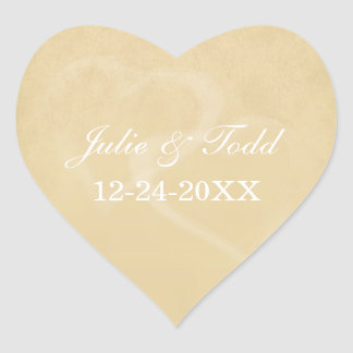 Sand Color Vintage Hearts Save The Date Heart Sticker