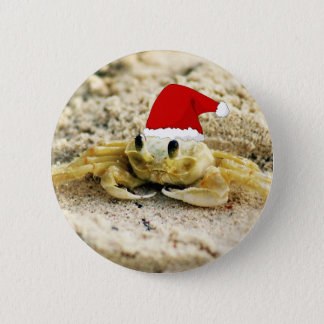 Sand Crab in Santa Hat Christmas 6 Cm Round Badge