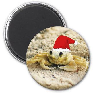 Sand Crab in Santa Hat Christmas 6 Cm Round Magnet