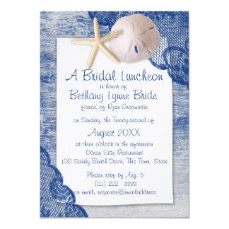 Sand Dollar and Lace Blue Bridal Shower 11 Cm X 16 Cm Invitation Card