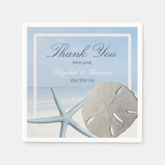 Sand Dollar and Starfish Beach Wedding Paper Napkin