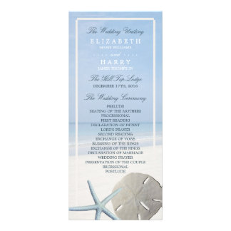 Sand Dollar and Starfish Beach Wedding Program Rack Card