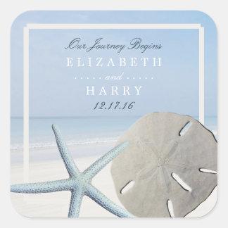 Sand Dollar and Starfish Beach Wedding Square Sticker
