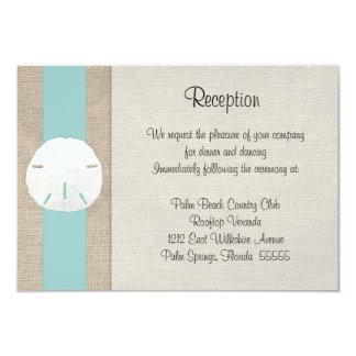 "Sand Dollar Beach Wedding Reception Invitation Car 3.5"" X 5"" Invitation Card"