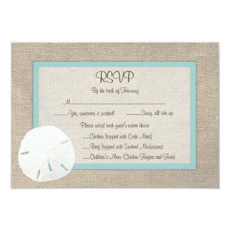 Sand Dollar Beach Wedding RSVP Card - Turquoise 9 Cm X 13 Cm Invitation Card
