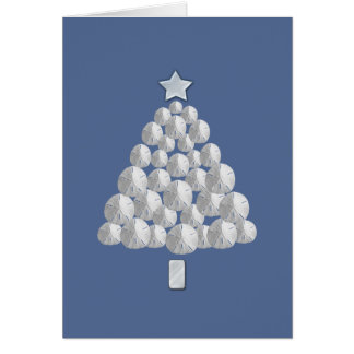 Sand Dollar Christmas Tree (blue) Card