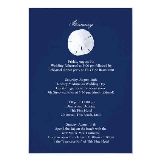 Sand Dollar Navy Blue Wedding Intinerary Card