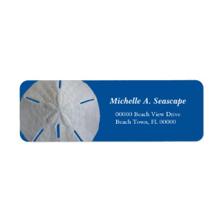 Sand Dollar on Bold Blue Return Address Label