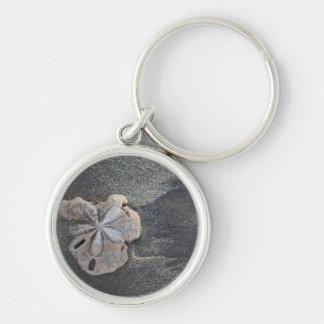 Sand dollar on sand key ring
