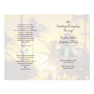 Sand Dollar Palm Trees Christian Ceremony Program 21.5 Cm X 28 Cm Flyer
