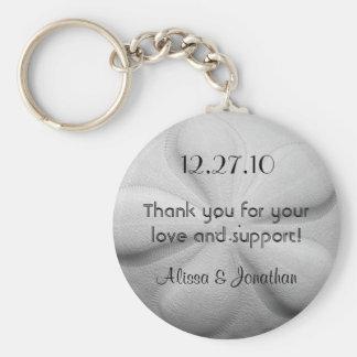 Sand Dollar Personalized Key Ring Wedding Favor Basic Round Button Key Ring