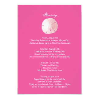 Sand Dollar Pink Wedding Intinerary Card