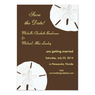 Sand Dollar Save the Date Chocolate and Lemon Zest 5x7 Paper Invitation Card