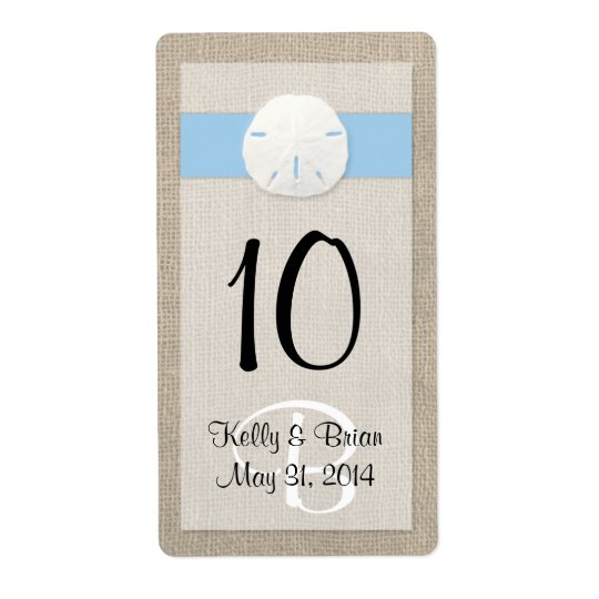 Sand Dollar Sky Blue Wine Bottle Label