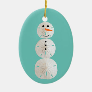 Sand Dollar Snowman Christmas Ornament