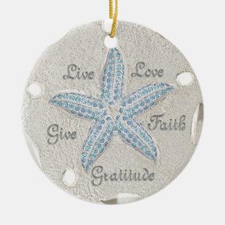 Sand Dollar Starfish Gem Ornament