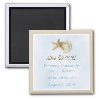 Sand Dollar & Starfish Save the Date Square Magnet
