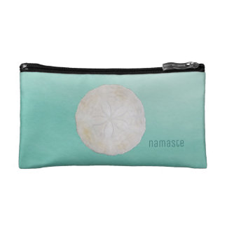 Sand Dollar Watercolor Namaste Small Cosmetic Bag