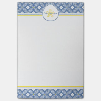 Sand Dollar with Blue & White Floral & custom name Post-it® Notes