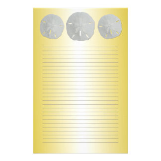 Sand Dollars on Gold Lined Writing Paper Stationery Paper