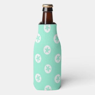 Sand Dollars on Seafoam Bottle Cooler