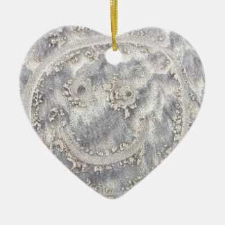 Sand drawing. Sunny smiley face on the beach Ceramic Heart Decoration