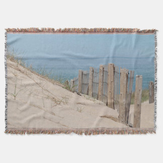 Sand dune and weathered beach fence throw blanket