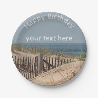 Sand dunes and beach fence paper plate