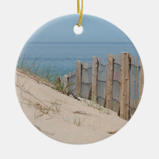 Sand dunes and beach fence round ceramic decoration