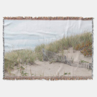 Sand dunes and beach fence throw blanket