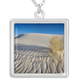 Sand dunes at White Sands National Monument in 3 Silver Plated Necklace