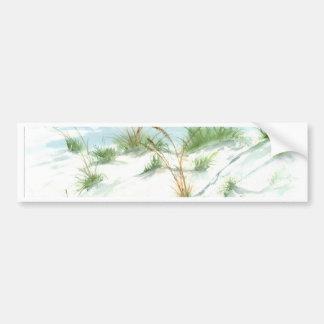 Sand dunes beach seascape nautical watercolor art bumper sticker