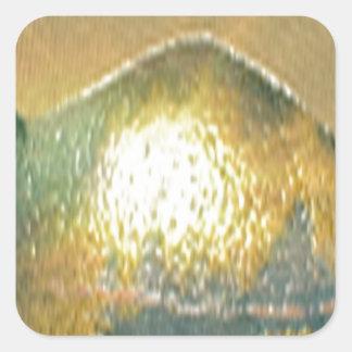 sand, gold green square sticker