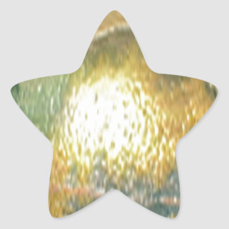sand, gold green star sticker