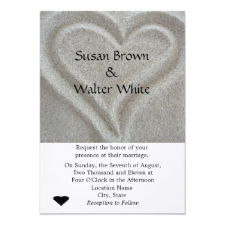 "Sand Heart Wedding Invitation 5"" X 7"" Invitation Card"