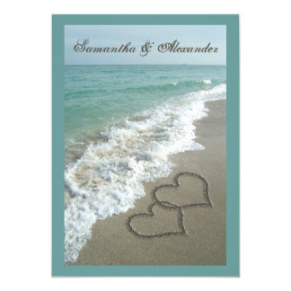 Sand Hearts~ Beach Destination Wedding Invitation