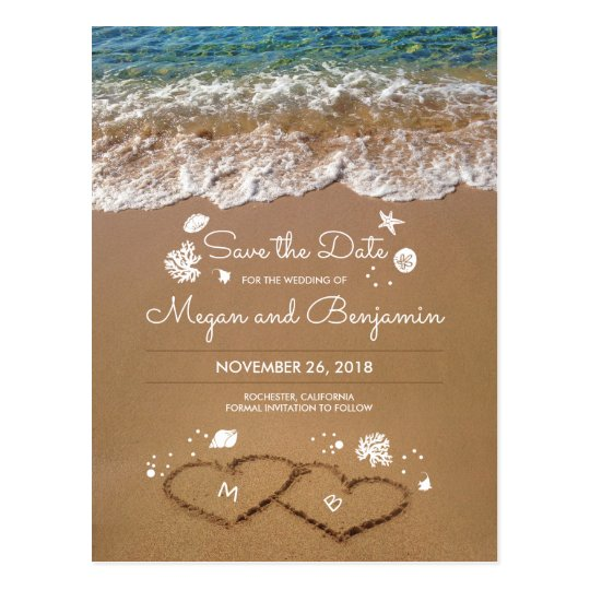 Sand Hearts Beach Summer Save The Date Postcard