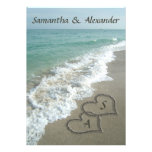 Sand Hearts Initials, Beach Destination Wedding Personalized Announcement