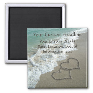 Sand Hearts on Beach, Romantic Save the Date Magnet