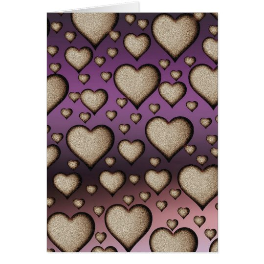 Sand Hearts on purple Background Card