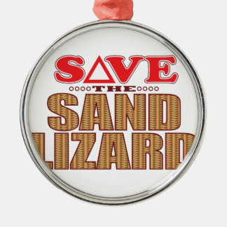 Sand Lizard Save Silver-Colored Round Decoration