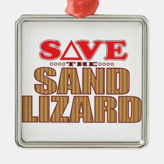 Sand Lizard Save Silver-Colored Square Decoration