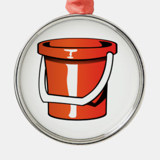 Sand Pail Bucket Silver-Colored Round Decoration