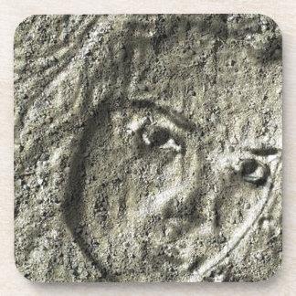 Sand sculpture portrait drink coaster