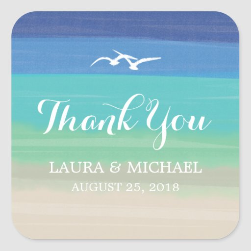 Sand, Sea and Seagulls | Thank You Square Stickers