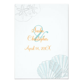 Sand+Sea/blue+orange/ Wedding Invitations