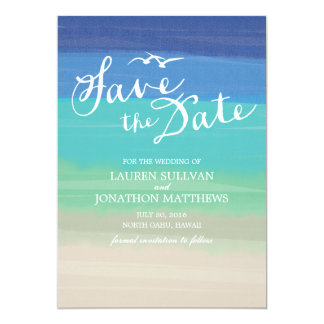 Sand, Sea & Seagulls | Painted Ocean Save the Date Card