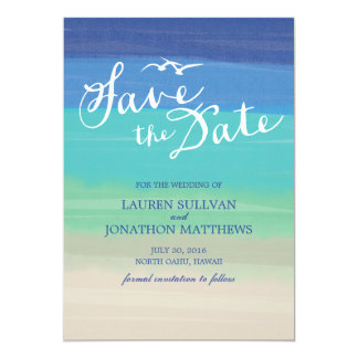Sand, Sea & Seagulls | Painted Ocean Save the Date 5x7 Paper Invitation Card