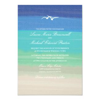 Sand, Sea & Seagulls | Painted Ocean Wedding 13 Cm X 18 Cm Invitation Card