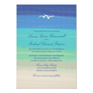 Sand, Sea & Seagulls | Painted Ocean Wedding Card